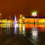 January 2014 Warsaw Castle by night, Warsaw Old Town, Warsaw, Poland